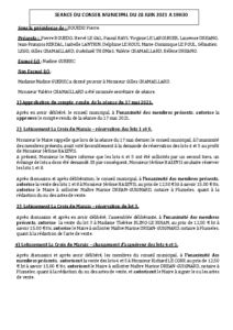 Conseil Municipal du 28 juin 2021