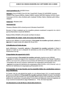 Conseil Municipal du 06 septembre 2021